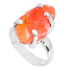 Natural orange mexican fire opal 925 silver solitaire ring size 4.5 p28077