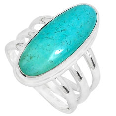 6.54cts natural green peruvian amazonite 925 silver solitaire ring size 7 p28387