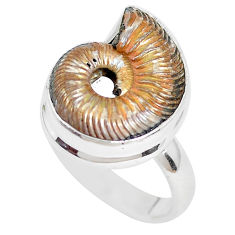 Natural brown ammonite crystallized 925 silver solitaire ring size 7 p28627