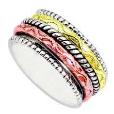 Victorian 925 sterling silver two tone spinner band ring jewelry size 8 p28657