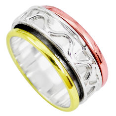 Victorian 925 sterling silver two tone spinner band ring jewelry size 7 p28678