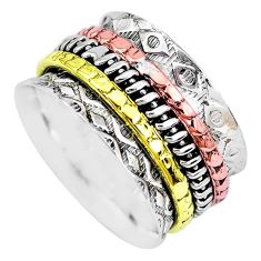 6.07gms victorian 925 silver two tone spinner band ring jewelry size 8 p28687