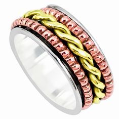 6.26gms victorian 925 silver two tone spinner band ring jewelry size 9 p28699