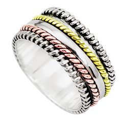 5.48gms victorian 925 sterling silver two tone spinner band ring size 8 p28718