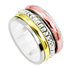 7.47gms victorian 925 silver two tone spinner band ring jewelry size 6.5 p28721
