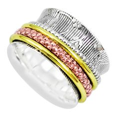 7.47gms victorian 925 silver two tone spinner band ring jewelry size 7.5 p28746