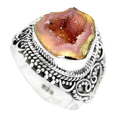 5.75cts natural brown geode druzy 925 silver solitaire ring size 7 p28803
