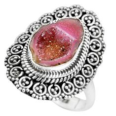 925 silver 6.02cts natural brown geode druzy solitaire ring size 8.5 p28804