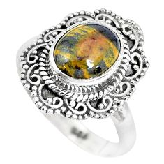 4.17cts natural ocean sea jasper 925 silver solitaire ring jewelry size 8 p28806