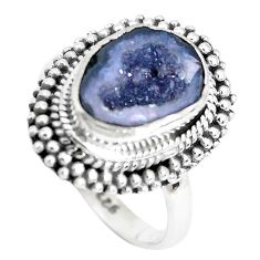 5.31cts natural brown geode druzy 925 silver solitaire ring size 7.5 p28808