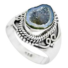 5.07cts natural brown geode druzy 925 silver solitaire ring size 8 p28810