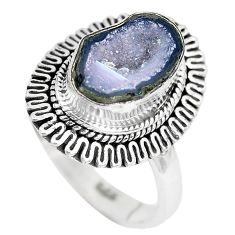 5.08cts natural brown geode druzy 925 silver solitaire ring size 8.5 p28812