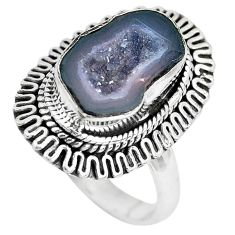 5.31cts natural brown geode druzy 925 silver solitaire ring size 8 p28813