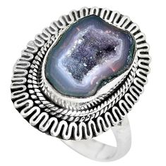 925 silver 5.30cts natural brown geode druzy solitaire ring size 8.5 p28814