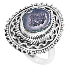 925 silver 5.12cts natural brown geode druzy solitaire ring size 7 p28819