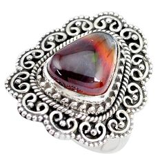 5.63cts natural mexican fire agate 925 silver solitaire ring size 7.5 p28825