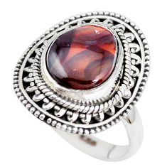 5.12cts natural mexican fire agate 925 silver solitaire ring size 7 p28826