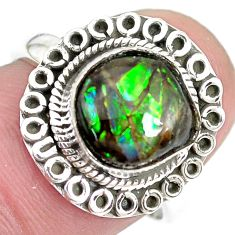 3.73cts natural multi color ammolite 925 silver solitaire ring size 7 p28850