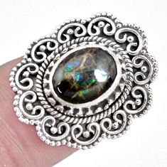 925 silver 3.84cts natural multi color ammolite solitaire ring size 6.5 p28856