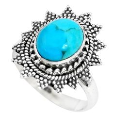 925 silver 4.02cts natural blue kingman turquoise solitaire ring size 8 p28864