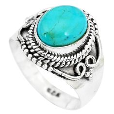 4.38cts natural blue kingman turquoise 925 silver solitaire ring size 7.5 p28873