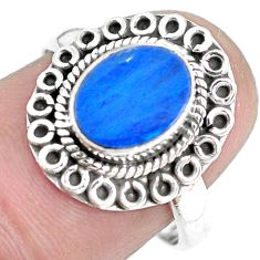 Natural blue doublet opal australian 925 silver solitaire ring size 7 p28893