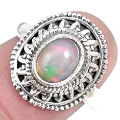 925 silver 2.24cts natural ethiopian opal solitaire ring jewelry size 7.5 p28918