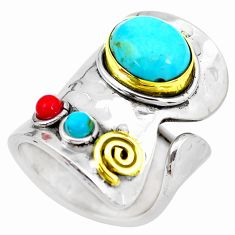 Blue arizona mohave turquoise silver two tone adjustable ring size 6.5 p28921