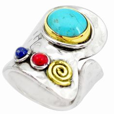 5.38cts blue arizona mohave turquoise 925 silver adjustable ring size 7 p28922