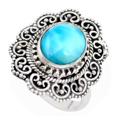 5.30cts natural blue larimar 925 silver solitaire ring jewelry size 6 p28923