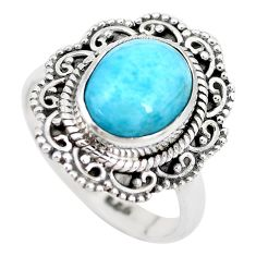 5.13cts natural blue larimar 925 silver solitaire ring jewelry size 7 p28924