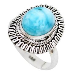 5.41cts natural blue larimar 925 sterling silver solitaire ring size 8.5 p28925