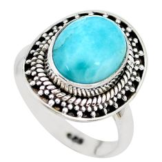 925 sterling silver 5.10cts natural blue larimar solitaire ring size 7 p28926