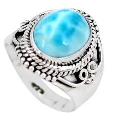 5.30cts natural blue larimar 925 silver solitaire ring jewelry size 6.5 p28927