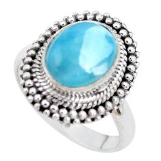 5.30cts natural blue larimar 925 silver solitaire ring jewelry size 7.5 p28928