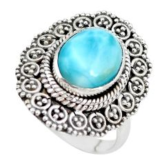 5.01cts natural blue larimar 925 silver solitaire ring jewelry size 7 p28929
