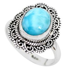 925 silver 5.52cts natural blue larimar solitaire ring jewelry size 8.5 p28930