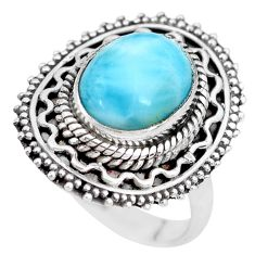 4.87cts natural blue larimar 925 silver solitaire ring jewelry size 6.5 p28931
