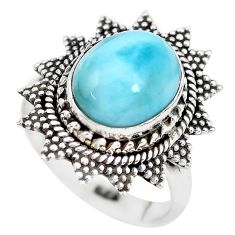 5.32cts natural blue larimar 925 silver solitaire ring jewelry size 7 p28932