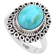 5.16cts natural blue larimar 925 silver solitaire ring jewelry size 8 p28933