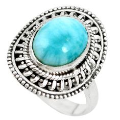 5.53cts natural blue larimar 925 silver solitaire ring jewelry size 6 p28934