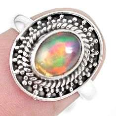 925 silver 2.21cts natural ethiopian opal solitaire ring jewelry size 6.5 p28935