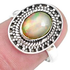 3.50cts natural ethiopian opal 925 sterling silver solitaire ring size 7 p28936