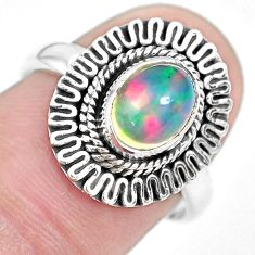 2.33cts natural ethiopian opal 925 sterling silver solitaire ring size 7 p28937