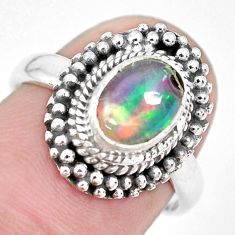 2.09cts natural ethiopian opal 925 silver solitaire ring jewelry size 6.5 p28938