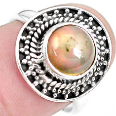 925 silver 3.32cts natural ethiopian opal solitaire ring jewelry size 6.5 p28939