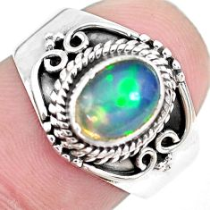 2.01cts natural blue ethiopian opal 925 silver solitaire ring size 6.5 p28940