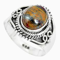 4.02cts natural brown tiger's eye 925 silver solitaire ring size 7 p28957