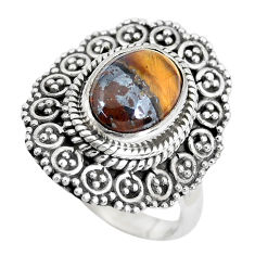 4.40cts natural brown tiger's eye 925 silver solitaire ring size 7 p28958