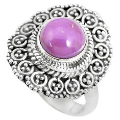 3.16cts natural purple phosphosiderite 925 silver solitaire ring size 6.5 p28974